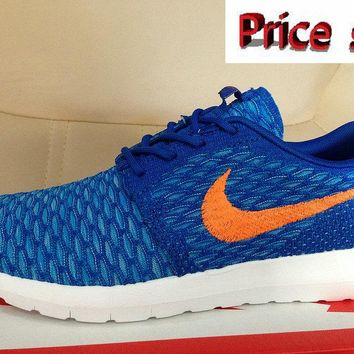 Buy Nike Flyknit Roshe Run Flyknit Hyper Blue Bright Citrus shoes