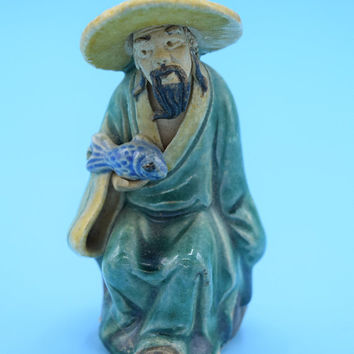 Chinese Mud Man Figurine Vintage China Mudman Holding Blue Fish Asian Pottery Small Man Folk Art Sage Pottery Mudman Bonsai Sculpture