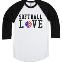 Softball Love tee t shirt tshirt-Unisex White/Black T-Shirt