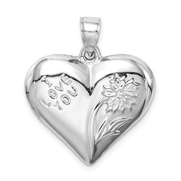 925 Sterling Silver Rhodium Plated Polished Floral Puffed Heart Shaped Pendant