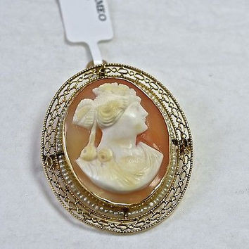 Victorian 10k Gold Hand Carved Cameo Brooch Pendant with Seed Pearls