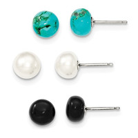 Sterling Silver Button Cultured Pearl, Turquoise, Black Agate Earrings Set