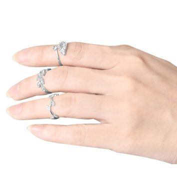 Women's 3pcs Alloy Gold/Silver Rhinestone Leaf Above Knuckle Finger Ring