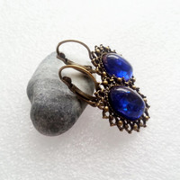 Faux opal earrings shimmering dark blue simple delicate gift idea for her valentines gift package