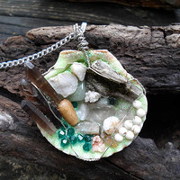 Necklace-Mermaid Jewelry-Fairy Jewelry-Smoky Quartz Crystal-Mermaid Treasure Trove Necklace-Seashell Necklace-Wire Wrapped Pendant-Green-294