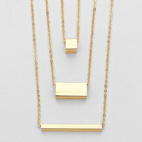 Triple Bar Necklace Gold