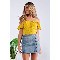 She's A Keeper Crop Top (Yellow)