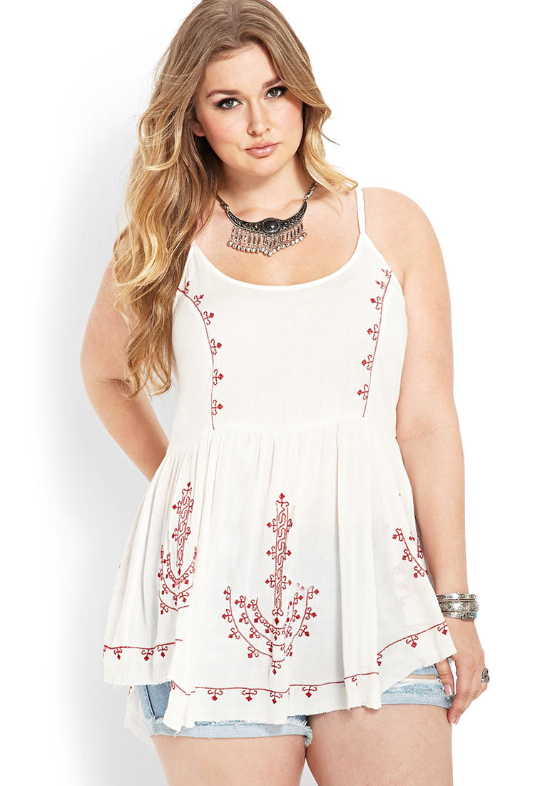 Embroidered Peasant Tunic From Forever 21-8344