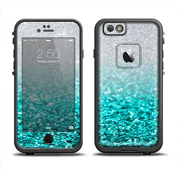 The Aqua Blue & Silver Glimmer Fade Apple iPhone 6 LifeProof Fre Case Skin Set
