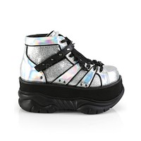 Silver Glitter Hologram Platform Shoes