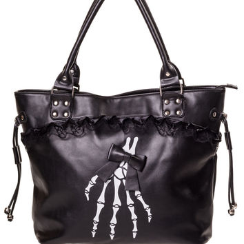 Banned Gothic Lolita Skeleton Hands and Black Bow Lace Trim Handbag