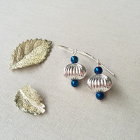 Christmas Earrings; Holiday Jewelry; Bead Christmas Ornament; Silver and Blue; Festive Fashion; Accessories