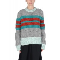 Jonathan Saunders Leona Striped Wool-Blend Sweater - Chunky Gray Sweater - ShopBAZAAR
