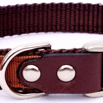 "Dog Collar: Nylon & Ribbon - 5/8"" Wide - Personalized - Brown"
