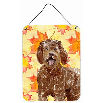 Fall Leaves Labradoodle Wall or Door Hanging Prints CK1837DS1216