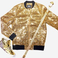 Barabas Fully Loaded Gold Sequin Bomber Jacket
