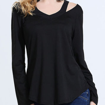 Black V Neck Cold Shoulder Loose T-Shirt