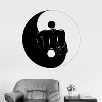 Wall Vinyl Sticker Decal Yin Yang Martial Arts Sports Fitness Fight Gym Unique Gift (ig3065)