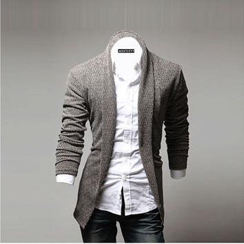 Mens Fashion Open Shawl Cardigan of Various Styles Shawl Collar  Sweater