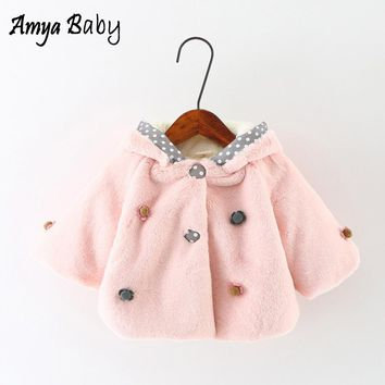 Baby Girls Winter Coat 2017 Baby Fur Coat Flower Long Sleeve Winter Clothes Infant Outerwear Baby Girls Thick Warm Snow Clothing