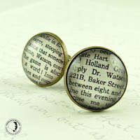 Sherlock Holmes Cufflinks Literary Quote  'Come by JezebelCharms