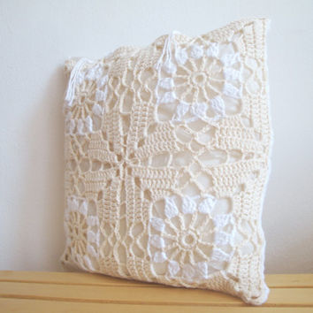 Crochet chunky pillow case.
