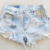 High Waisted Shorts Studed Light Wash Denim Vintage American Apparel Indie Fashion Hipster Shorts Hippie Grunge