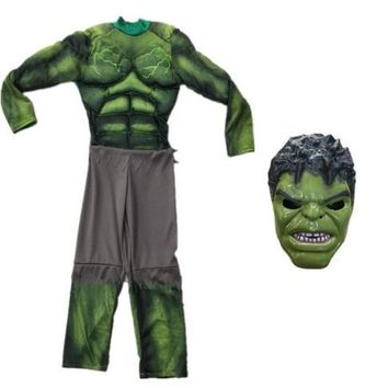 The Avengers Hulk Costume for Boys Cosplay Halloween Party Costume for Kids Carnival Clothes Children Gifts Fantasy Muscle Mask