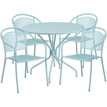 35.25'' Round Sky Blue Indoor-Outdoor Steel Patio Table Set with 4 Round Back Chairs