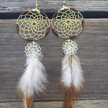 Gold and Maroon Dream Catcher Earrings