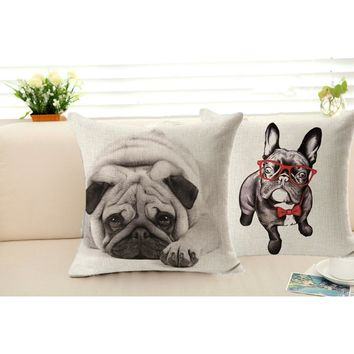 45*45cm New Home Decorative Pillow Cover Throw Pillow Case Vintage Cotton Linen Square Cute Funny Pug Dog Pillowcase
