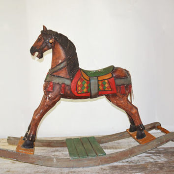 Riding Rocking Horse, Childs Rocking Horse, Large Riding Horse, Nursery Décor, Vintage Toy Horse, Toy Rocking Horse, Wooden Rocking Horse