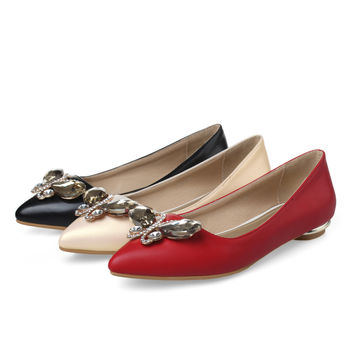 Pointed Toe Women Flats Girl Casual Loafers Shoes Rhinestone Ballet Shoes