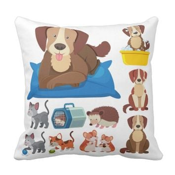 Domestic Dog Throw Pillow