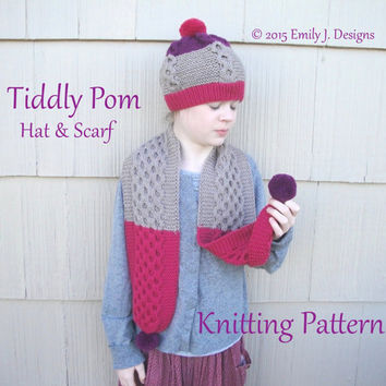Tiddly Pom Hat & Scarf Knitting Pattern, Toddler-Tween Girls, Cables Garter Pom Poms, Worsted Yarn