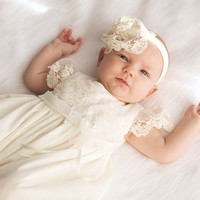 Baptism Dress-Flower Girl Dress-baby dress-Baby girl Clothes-Newborn Girl Dress-headband-Baby Dress-Christening Dress-size 0m-9m