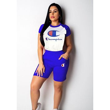 Champion Classic Hot Sale Women Casual Print Short Sleeve Top Shorts Set Two Piece Sportswear Blue