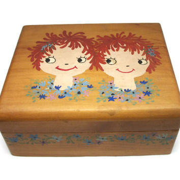 Vintage Red Haired Red Headed Girls Sisters Friends Twins Hand Painted Wooden Trinket Box Small Wood Keepsake Box Blue Flowers Sabra 1956