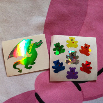 Lot of 2 Sandylion Stickers Holographic 90s Vintage Bears Dinosaur Rainbow Iridescent