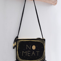 No Meat, light yellow and black simple shoulder bag/clutch, no meat message bag