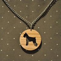 Laser cut wooden miniature schnauzer dog necklace