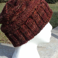 Ripple Winter hat, Hand spun, Hand Painted, Wool