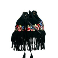 ASOS Leather Duffel Bag With Flower Embroidery