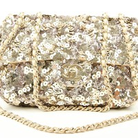 CHANEL FLAP BAG MIT SEQUIN SMALL