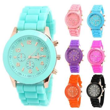 deals] New Unisex Women Mens Boys Girls Geneva Silicone Jelly Sports Quartz Wrist Watch [8824617095]