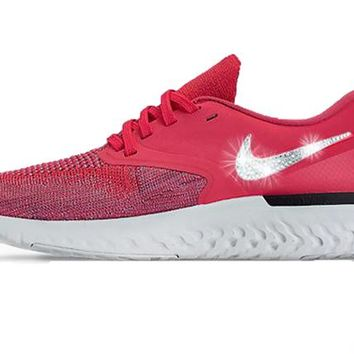 Nike Odyssey React Flyknit 2 + Crystals - Ember Glow/Red Orbit/Plum Dust/Barely Grey/Black