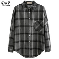 Women Fall Blouses Cute Korean Clothes Women Office Blouse Grey Plaid Drop Shoulder Pocket Shirt Blouse