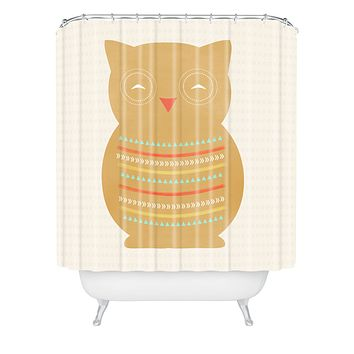 Allyson Johnson Native Owl Shower Curtain