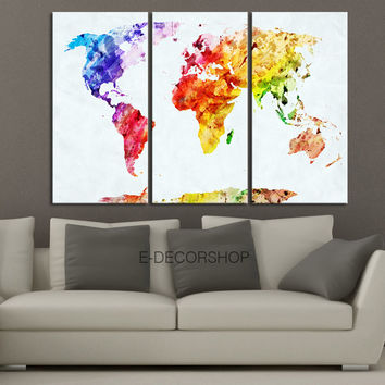 Colorful World Map Canvas Print - Contemporary 3 Panel Triptych Colorful Abstract Rainbow Colors Large Wall Art