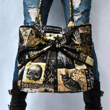 Handbag, Raven Tote Bag, Edgy Rocker Chic Handbag, Nevermore Pattern, Gothic Bag, Large Tote, Market Bag
